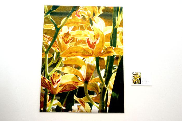 蘭をジャガード織で表現